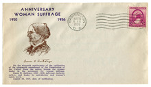 Washington D.C., The USA  - 26 August 1936: US Historical Envelope: Cover With Cachet Anniversary Woman Suffrage Susan B. Anthony, Postage Stamp Three Cents, Cancellation