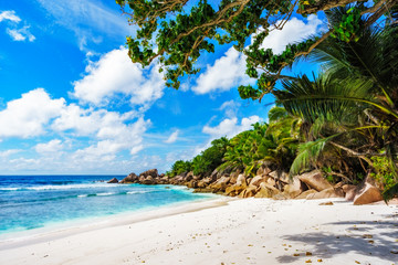 beautiful tropical beach with granite rocks,white sand,turquoise water,seychelles 10