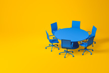 Set Of Blue Conference Room Fu...