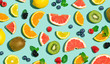Collection of mixed fruits overhead view flat lay