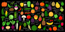 Vegetables, Fruits And Berries. Fresh Hand Drawn Vegetale, Fruit And Berry Vector Illustration, Coloring Doodle Veggies Menu With Names