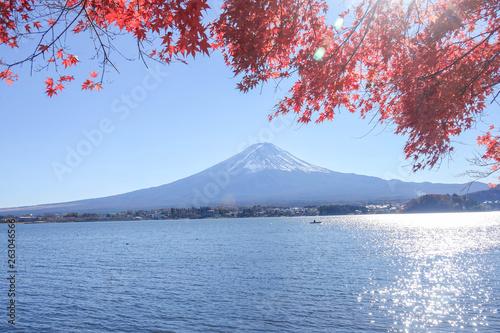 Wall Murals Photo of the day Autumn Season Fuji Mountain at Kawaguchiko lake, Japan.
