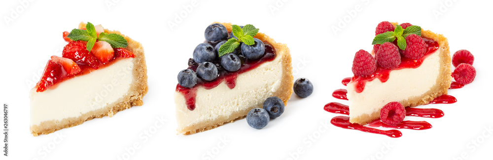 Fototapeta Set of cheesecakes with fresh berries and mint