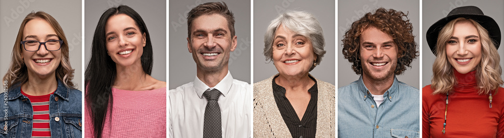 Fototapety, obrazy: Cheerful people of various ages