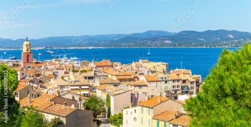 Canvas Prints Ship A view of streets and lanscape of Saint Tropez, France
