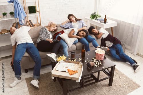 Poster de jardin Bar Friends sleeping after party in messy room