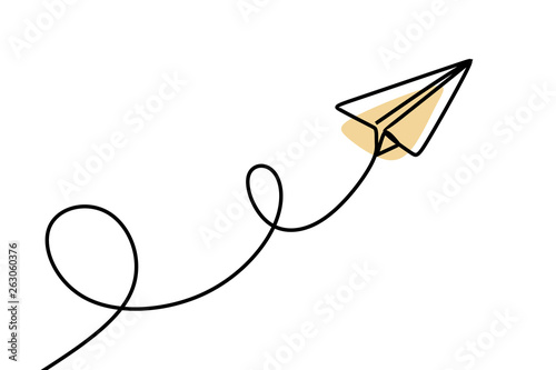 Paper plane continuous one line drawing Fototapete