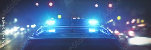 Leinwand Poster Polizeiauto im Einsatz