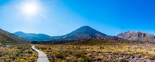 Panorama Landscape View Of A Beautiful Of Tongariro Crossing Track On A Beautiful Day With Blue Sky, North Island, New Zealand.