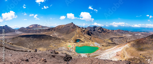 Fotografie, Tablou  Panorama Landscape view of a beautiful of Tongariro Crossing track on a beautiful day with blue sky, North Island, New Zealand