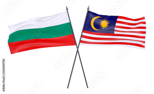 Fotografía  Bulgaria and Malaysia, two crossed flags isolated on white background