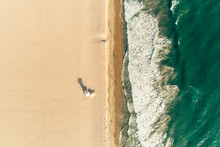 Aerial View Of Lifeguard Stand On Empty Beach
