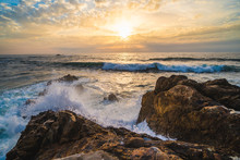 Ocean Scenery, Powerful Waves And A Colorful Sunset In Portugal