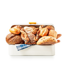 Bread Box With Bread And Buns