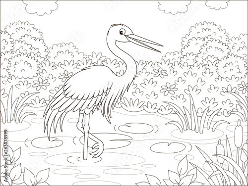 Fotografie, Obraz  Heron by a small lake among cane, grass and flowers of a meadow on a summer day,