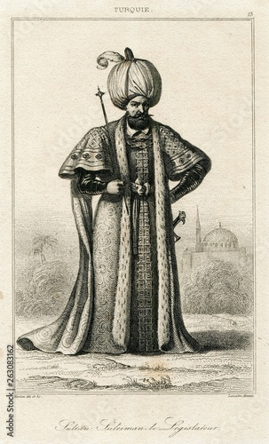 Fényképezés Sultan Suleiman Magnificent Ottoman Empire Turkey Turkish Antique Engraving 1840