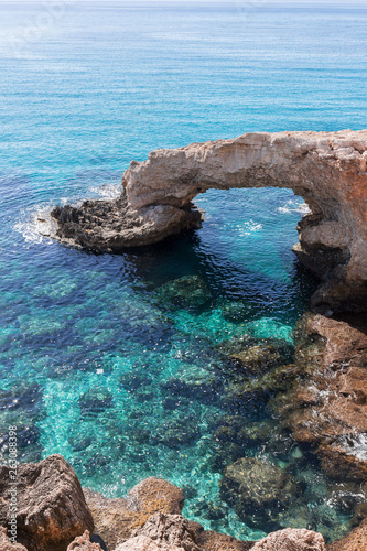 Autocollant pour porte Chypre Rock arch with the name of Love Bridge at the coast of in Ayia Napa, Cyprus.