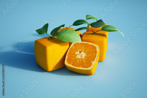 Photo Cubic oranges in blue