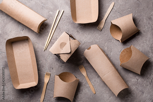 Fotografia, Obraz  Eco friendly fast food containers