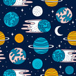 seamless pattern with planets and elements