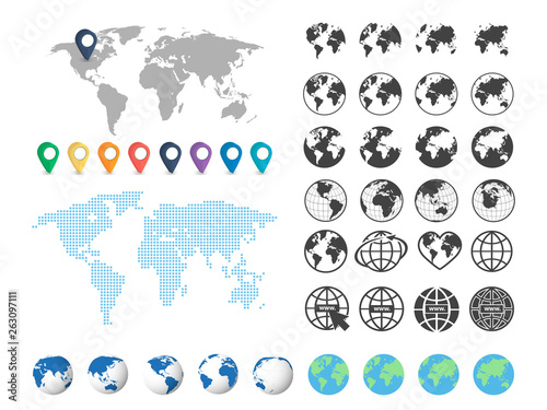 Obraz Set of globe and world map. Big set. Vector - fototapety do salonu
