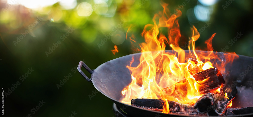 Fototapety, obrazy: Barbecue Grill. Fire flame