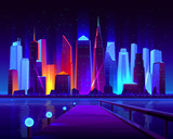 Fototapeta Miasto - Future metropolis seafront with illuminating neon colors lights futuristic skyscrapers buildings on shore and pier on opposite bank of bay cartoon vector illustration. Modern city nightlife background