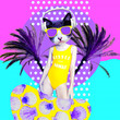 canvas print picture Contemporary art collage. Dancing Dj Kitty in beach palm dreams. Zine culture concept