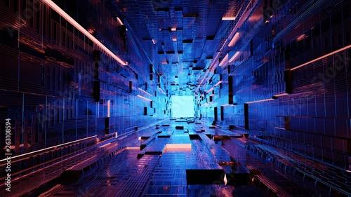 Pinturas sobre lienzo  Abstrakt Art   Tunnel mit blauem Licht