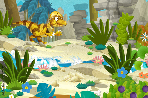 Poster Ouest sauvage cartoon scene with dinosaur in the jungle - illustration for children