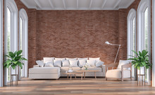 Modern Contemporary Living Room 3d Render,There Are Wooden Floor,red Brick Wall And White Wooden Ceiling,Furnished With Brown Fabric Sofa,There Are Arch Shape Window Looking Out To The Natural View.