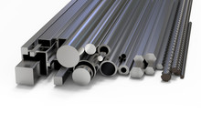 Set Steel Rolled Products. Metal Products. 3d Rendering