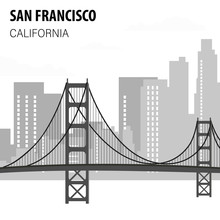 San Francisco Cityscape Monochrome Illustration