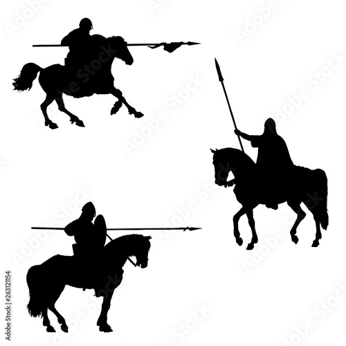 Vászonkép Medieval mounted knights isolated silhouette
