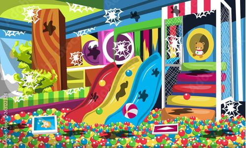 Brudny plac zabaw dla dzieci ze studnią, zjeżdżalniami, schodami i tunelami, zabawa dla dzieci do pomysłów na projektowanie wnętrz wektorowych