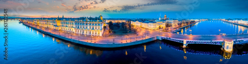 Obraz Saint Petersburg. Palace Embankment. Russia Panorama of St. Petersburg. Hermitage. Streets of Petersburg. Architecture cities of Russia. Palace Bridge. Hermitage garden. Palace Square. - fototapety do salonu