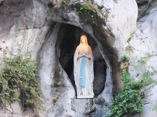 Statue of Our Lady of Lourdes  France Canvas Print