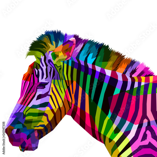colorful zebra head on pop art style фототапет