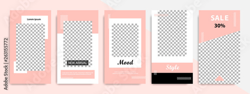 Poster Retro sign Social media stories layout template. Modern minimal square abstract fluid shape template in pink and peach flat color