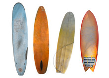 Vintage Surfboard Isolated On White With Clipping Path For Object, Retro Styles