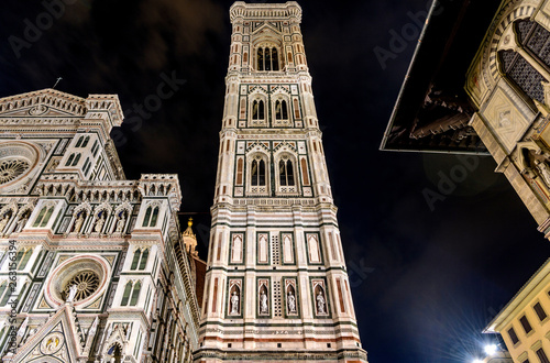 Giotto's Campanile at Night - A low-angle night view of Giotto's Campanile of the Florence Cathedral. Florence, Tuscany, Italy.