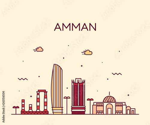 Amman skyline Jordan vector big city linear style Canvas Print