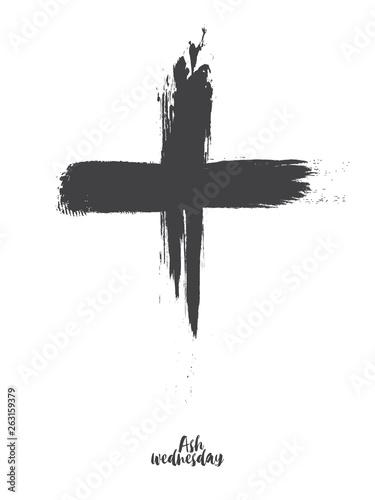 Black cross of ash wednesday Wallpaper Mural