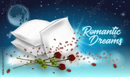 Valokuva  Vector Illustration Lettering Romantic Dreams.