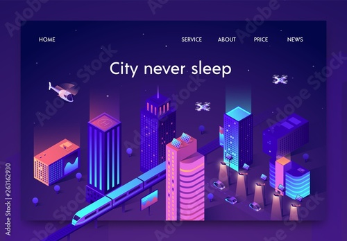 flat banner is written city never sleep isometric. Tablou Canvas