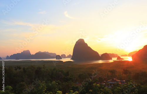 Foto auf Gartenposter Grau Verkehrs Unseen view point of Samed Nang Chee Bay, twilight sky in the morning, Ao Phang Nga National Park, Thailand,