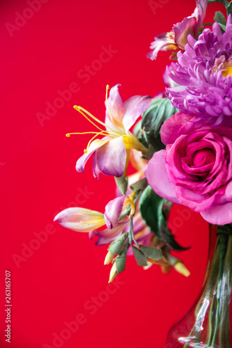 Fototapety, obrazy: beautiful artificial flowers on red background. Art soft focus