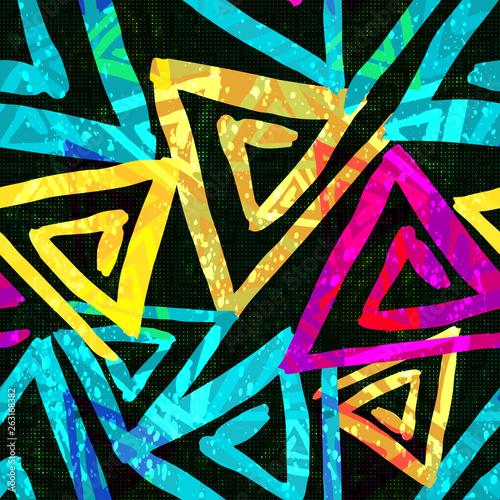 Foto auf AluDibond Graffiti Graffiti bright psychedelic seamless pattern on a black background illustration