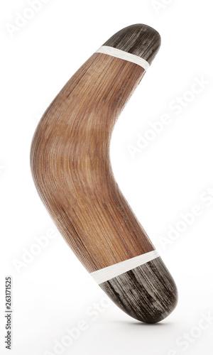 Photo Boomerang isolated on white background. 3D illustration