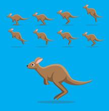 Animal Animation Sequence Cute Kangaroo Jumping Cartoon Vector